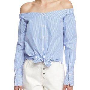 Rag & Bone   'Kacy' Stripe Off The Shoulder Shirt